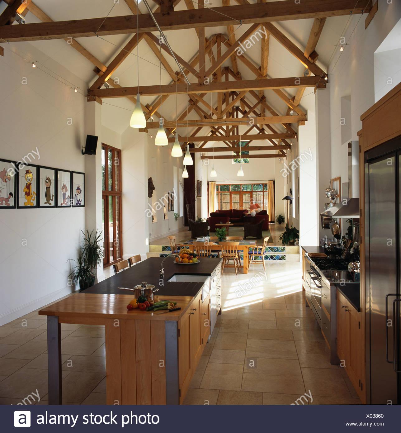 Insel-Einheit in modernen Küche in große offene Scheune ...