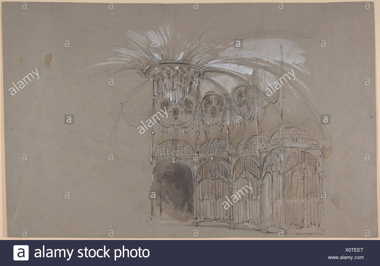 Bühnenbild Design Runder Ballsaal Mit Kronleuchter. Verso: Grobe Skizze Des  Bühnenbildes. Künstler: Salvador Alarma Tastós (Spanisch, Barcelona,