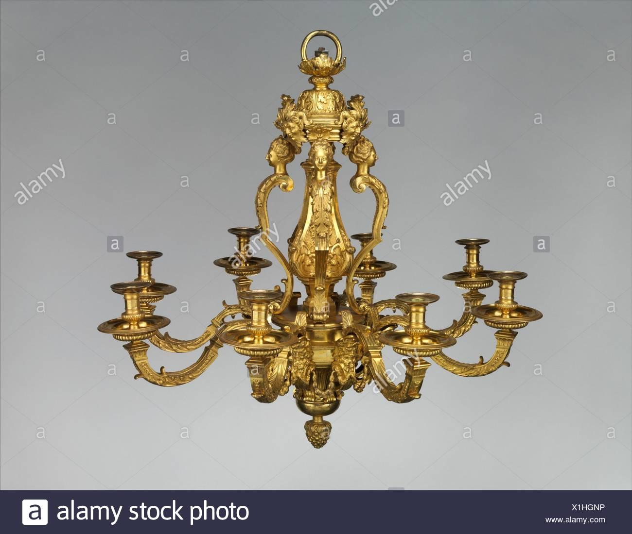8 Licht Kronleuchter. Teekocher: Eventuell Von André Charles Boulle  (Französisch, Paris 1642 1732 Paris); Datum: Ca. 1710; Kultur: Französisch,  Paris; ...