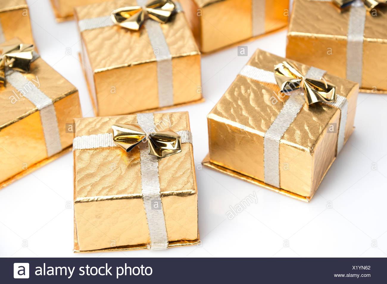 Golden, Box, Boxen, Weihnachten, Deko, Geschenke, dekorieren ...