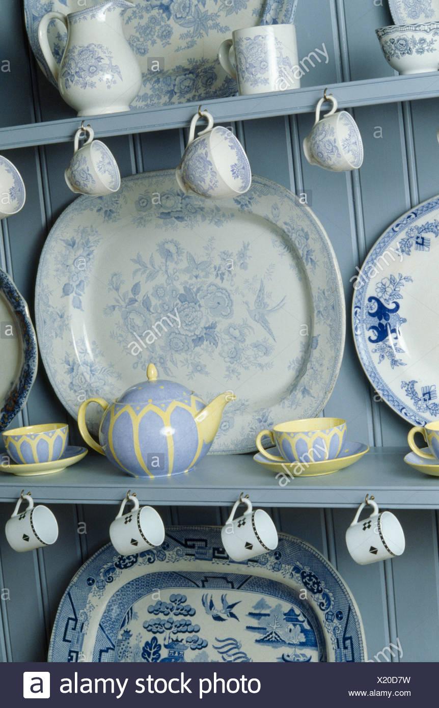 Nahaufnahme Der Sammlung Von Blau Weiss Antik China Auf Blaue