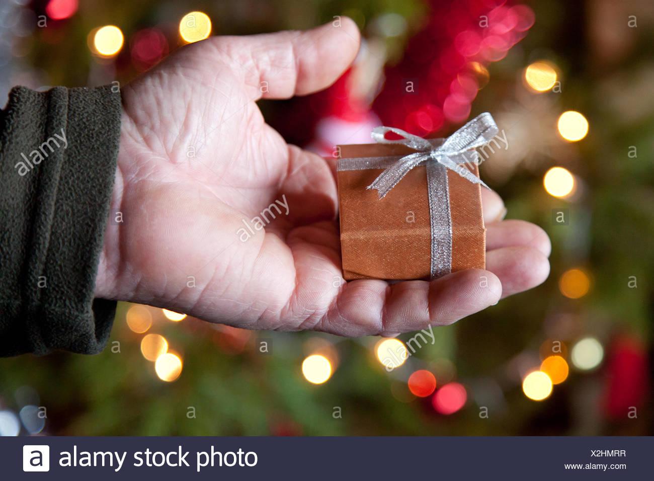 Mann hält Weihnachtsgeschenk Stockfoto, Bild: 276984731 - Alamy