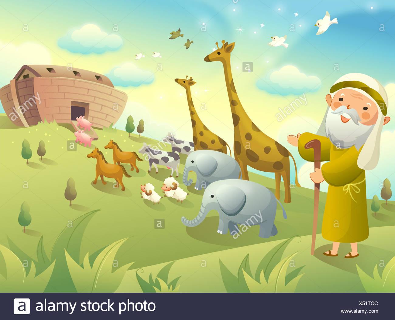 Berühmt Noahs Arche Tiere Färbung Seite Galerie - Beispiel ...