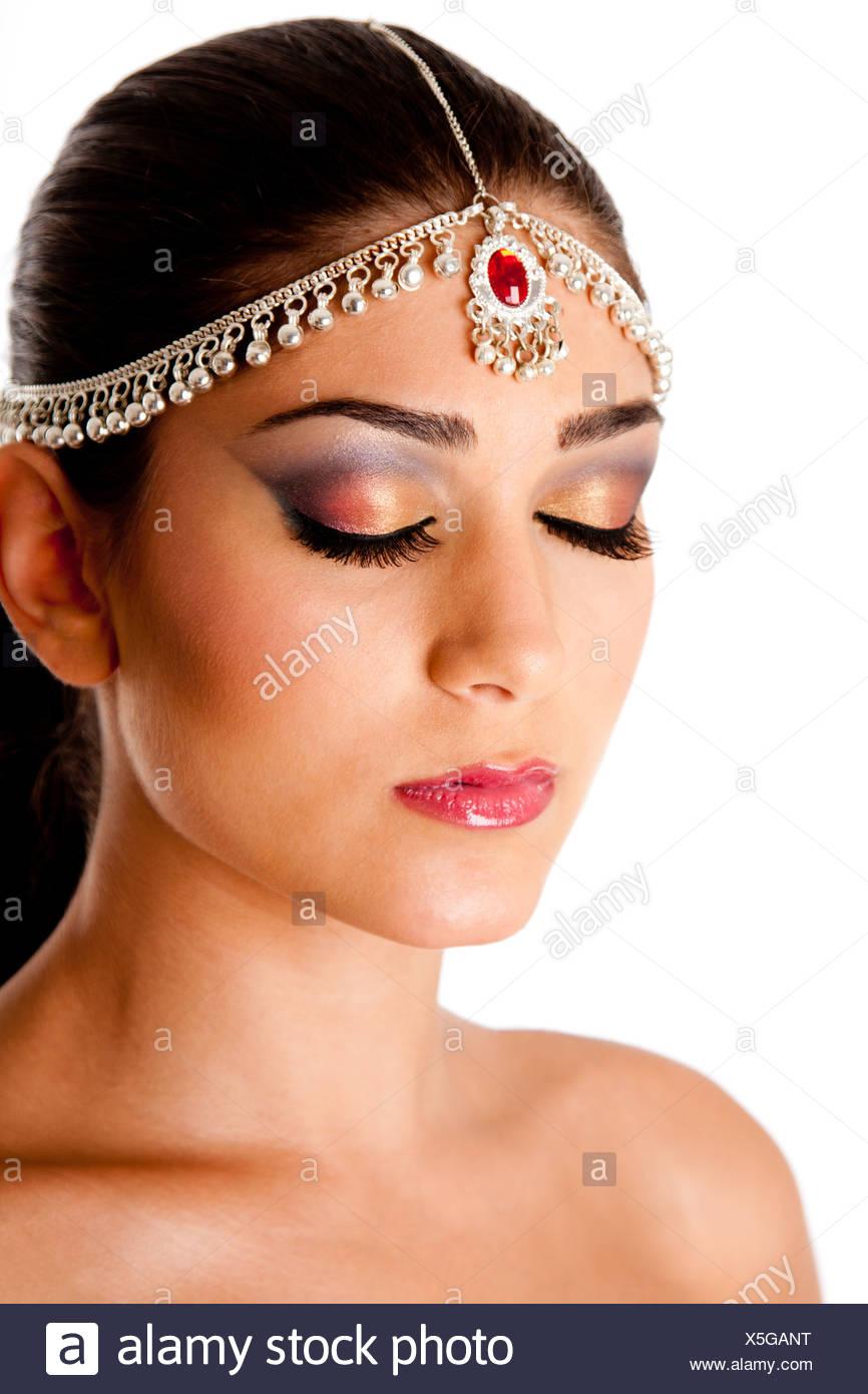Schones Gesicht Einer Nahostlichen Frau Mit Arabischen Stil Make Up