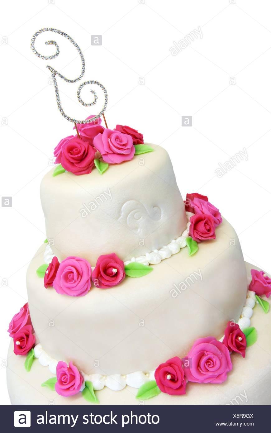 Drei Abgestufte Hochzeitstorte In Marzipan Bedeckt Und Mit Rosa