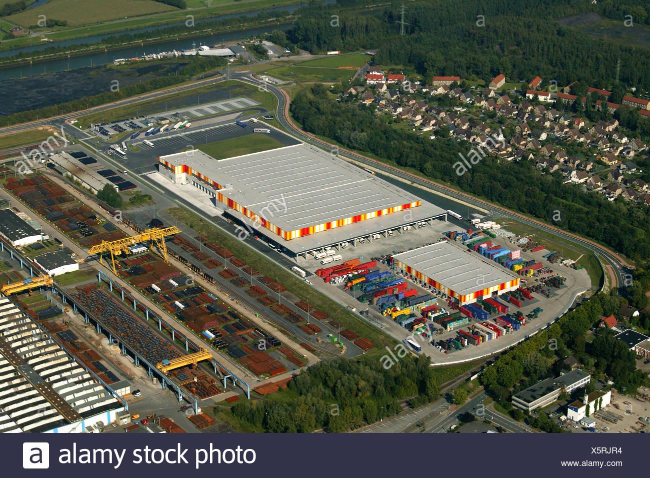 Luftaufnahme, TrinkGut Getränke Großhandel und Logistiker, Hafen ...