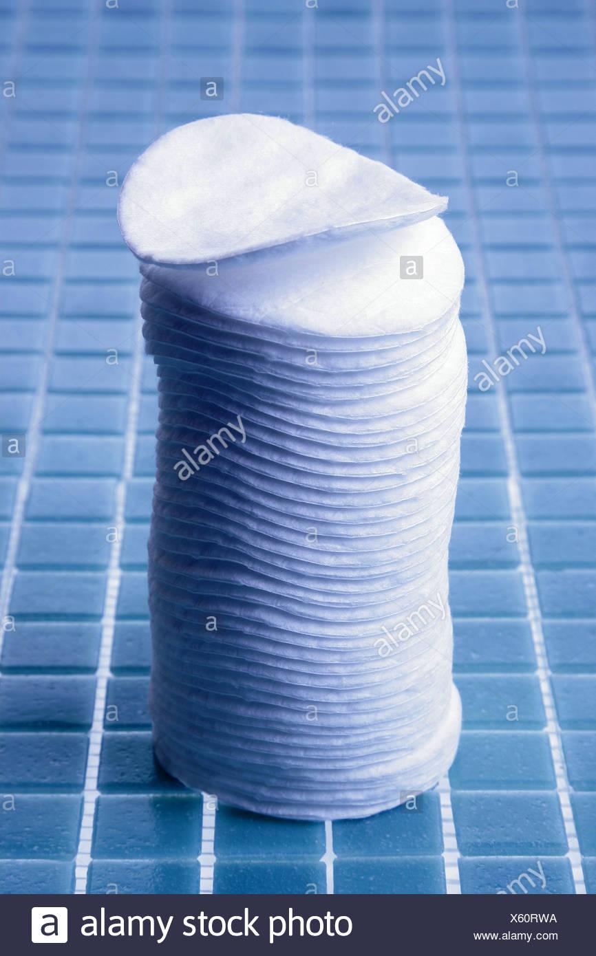 Badezimmer Wattepads Stapeln Serie Fliesen Fliesen Blau Reinigung