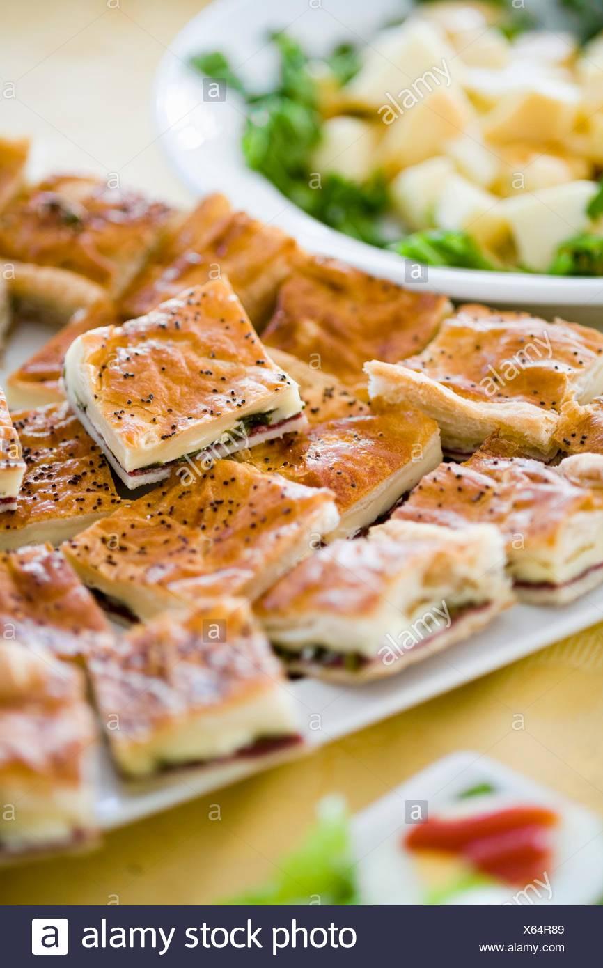 Herzhafte Kuchen Kase Schinken Spinat Fullung Stockfoto Bild