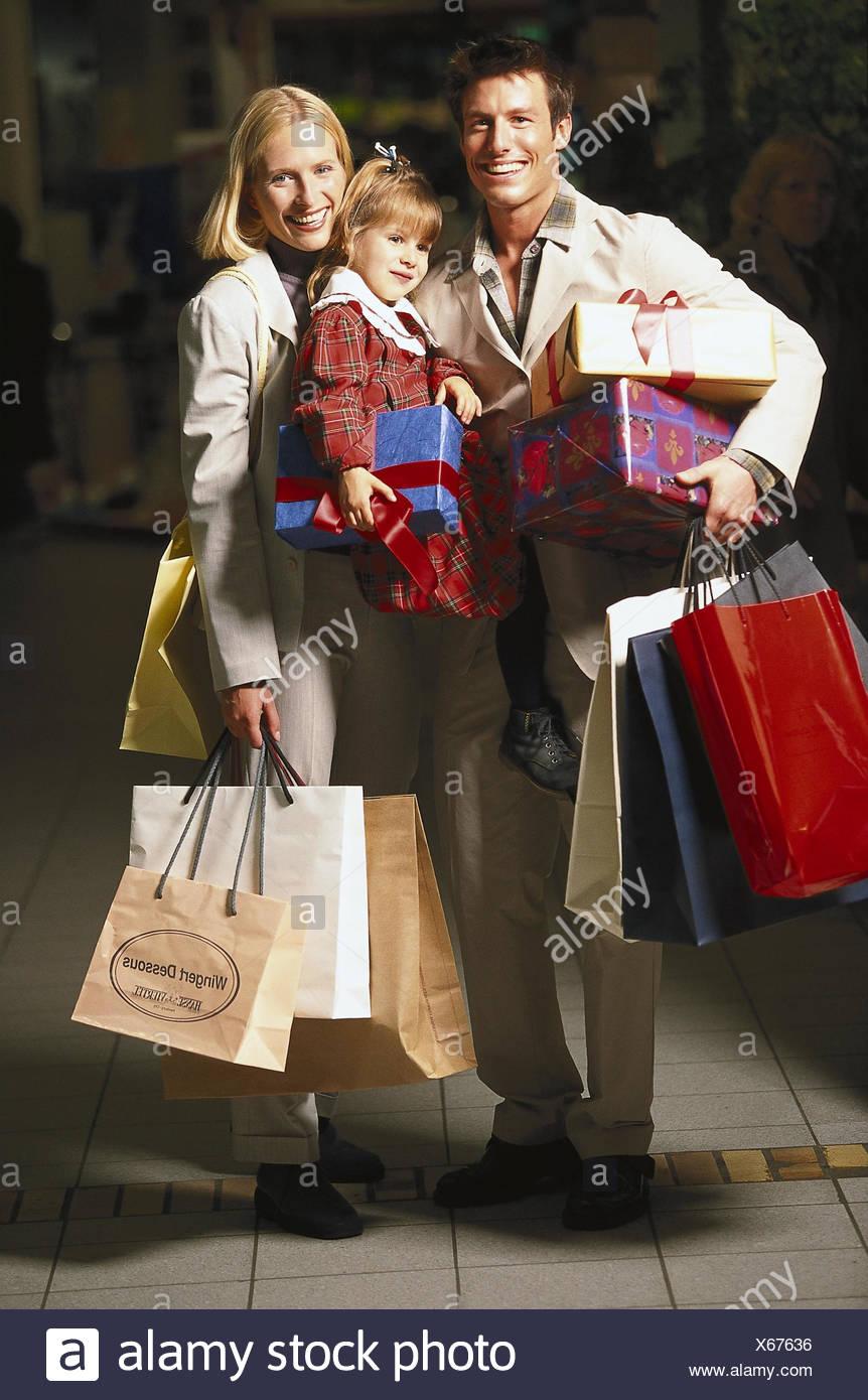 Familie, shopping-Tour, Weihnachts-shopping, Weihnachten, machen ...