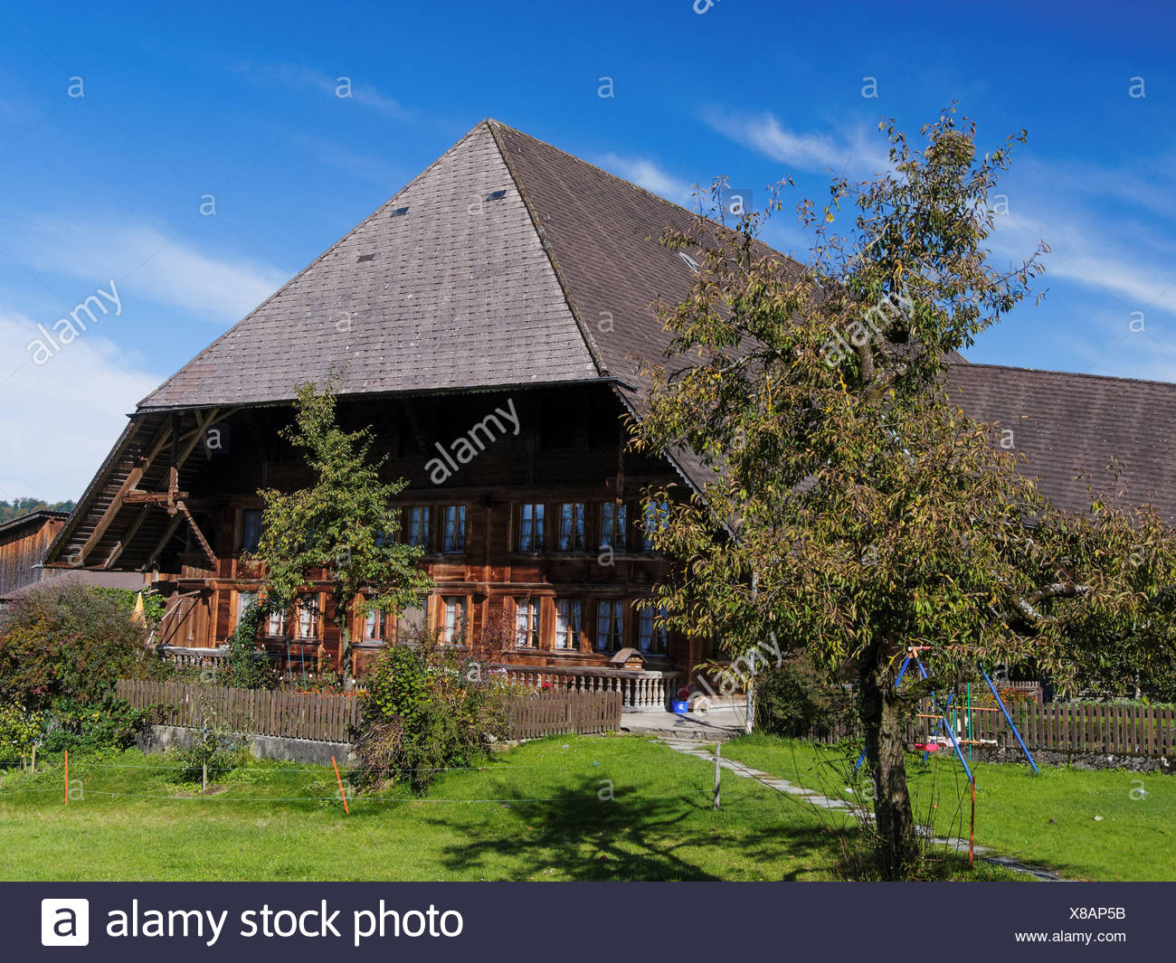 Bauernhof, Bauernhaus, Bauernhof, Garten, Dach, Emmental, Garten, Haus,  Hof, Hof, Kanton Bern, Bern, Rüderswil, Schweiz, Europ
