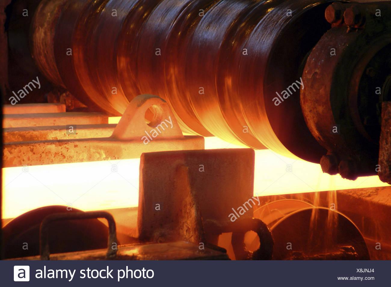 Walzgerüst im Eisenwerk, detail, Walzgerüst, Stahl, Glühen, schwere ...