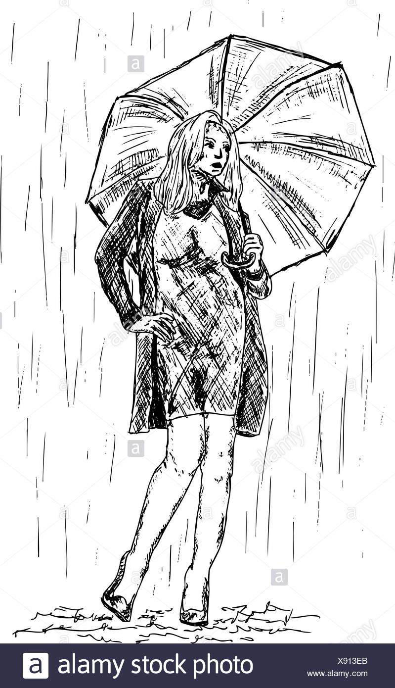 Abbildung Farbe Zeichnen Regen Madchen Madchen Frau Beine Menschen