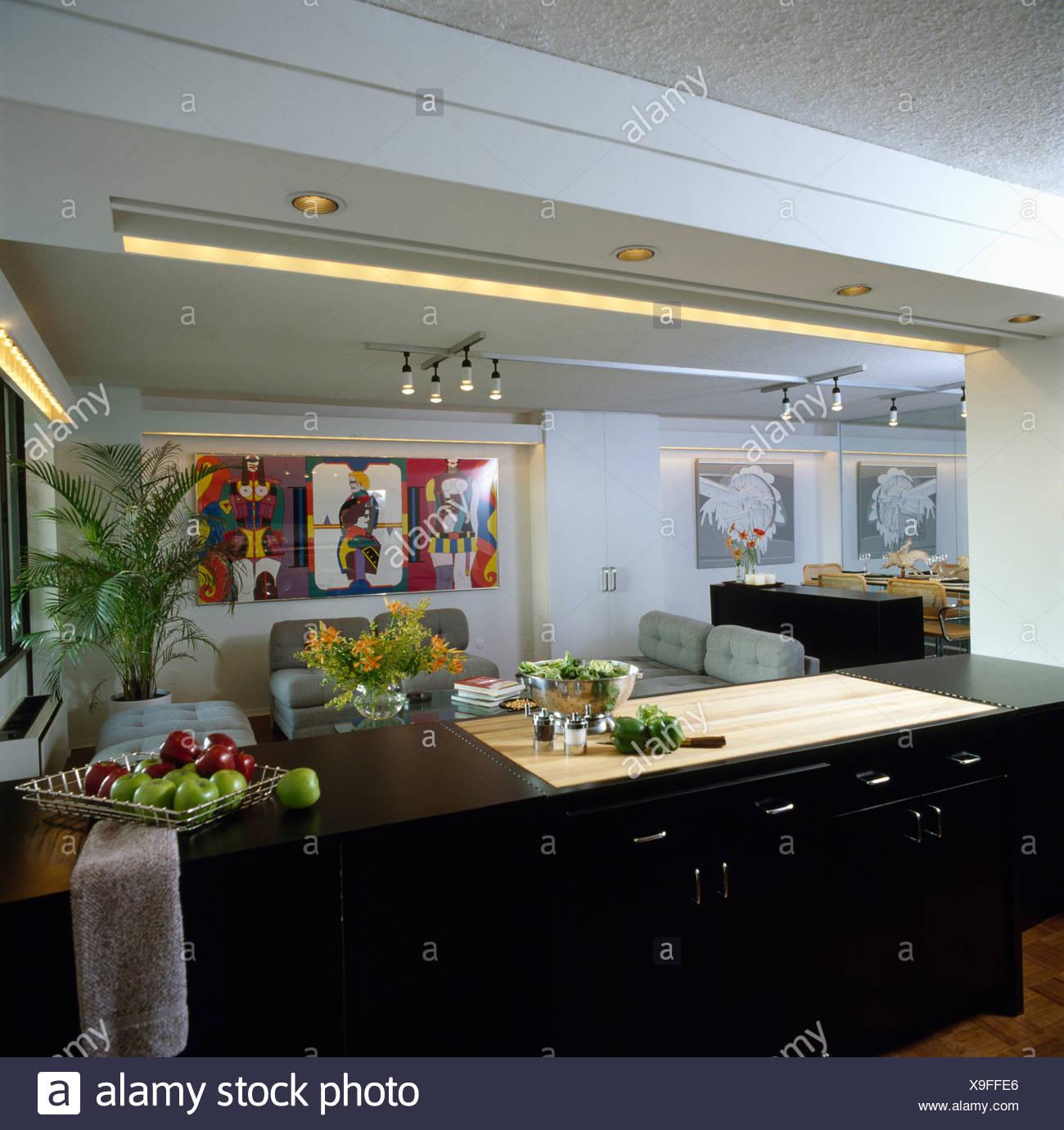 Offene Küche Und Wohnzimmer In Achtziger Jahre American Loft Conversion