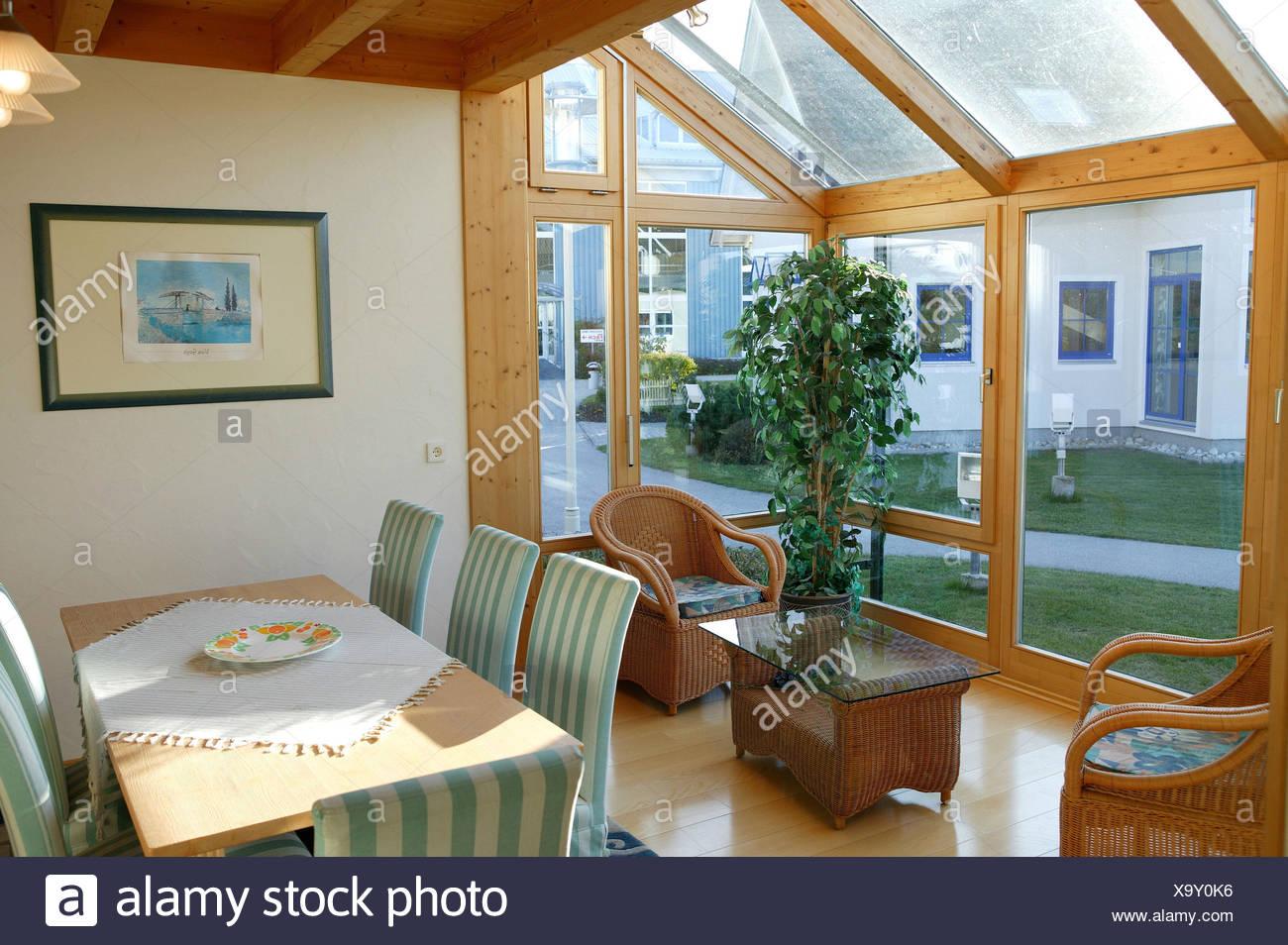 Einfamilienhaus, Wintergarten, Leben Platz, Esstisch Haus, Wohnhaus ...