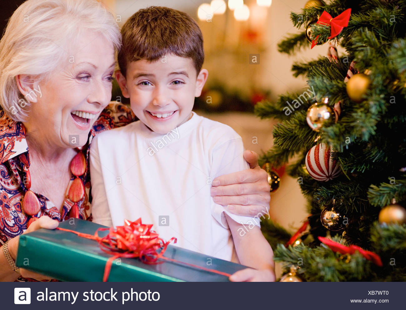 Großmutter und Enkel Weihnachtsgeschenk Stockfoto, Bild: 282301040 ...