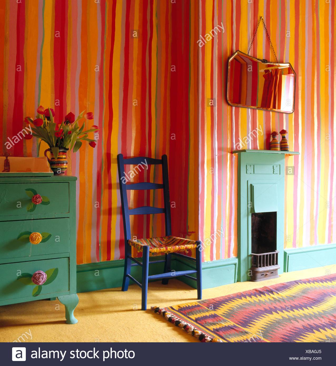 Schlafzimmer Bunt bunte streifen gemalt an wänden der achtziger jahre schlafzimmer