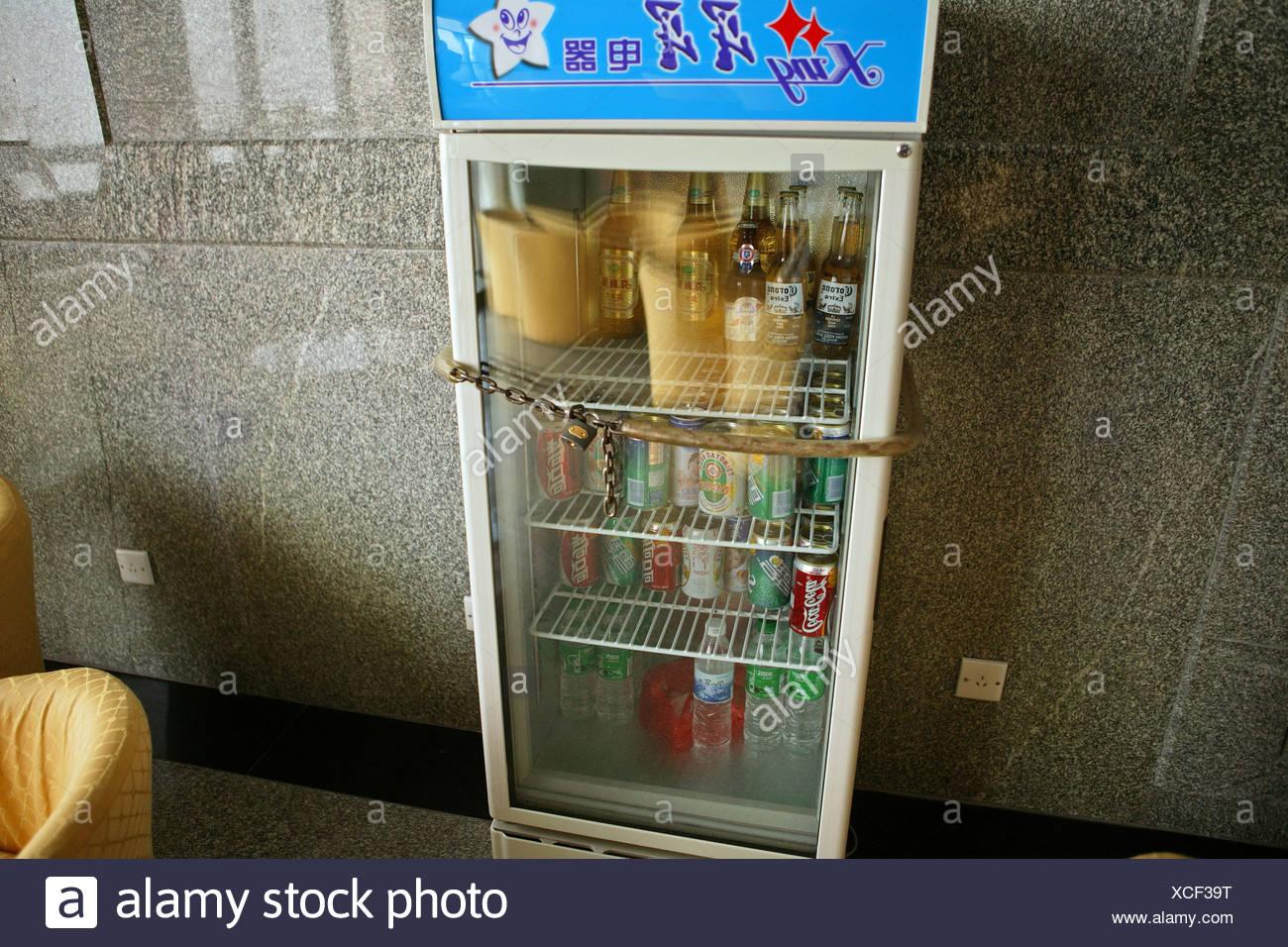 kalte Getränke Kühlschrank, mit Kette und Vorhängeschloss, keine ...