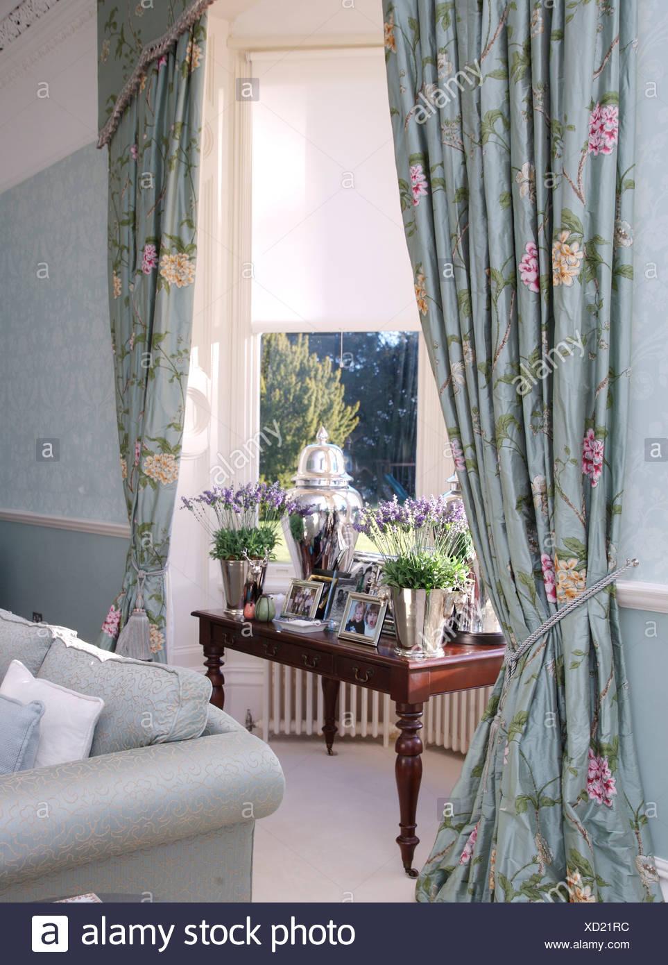 Töpfe Mit Lavendel Auf Tisch Im Fenster Mit Blassen Blau Floral Gardinen  Und Weiße Vorhänge In Blassen Blauen Wohnzimmer