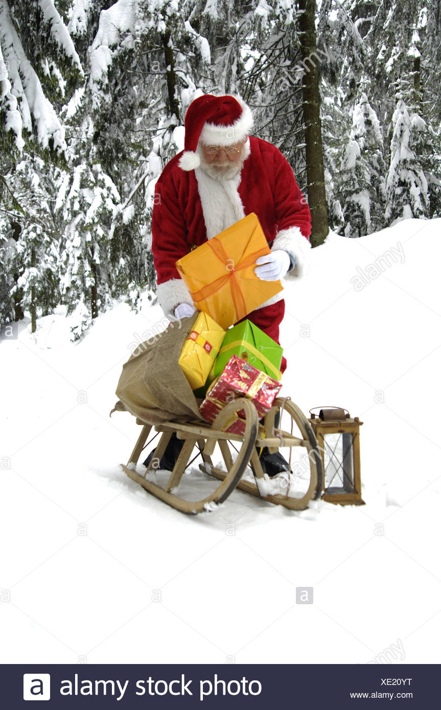 Winter Holz, Santa Claus, Folie, Beutel, präsentiert, Laterne ...