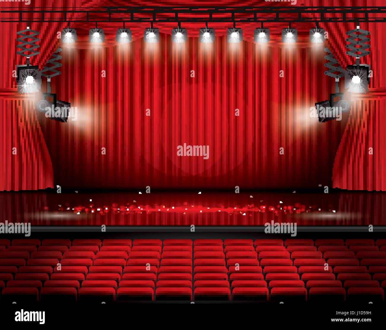 Red stage curtain with lights - Red Stage Curtain With Spotlights Seats And Copy Space Vector Illustration Theater
