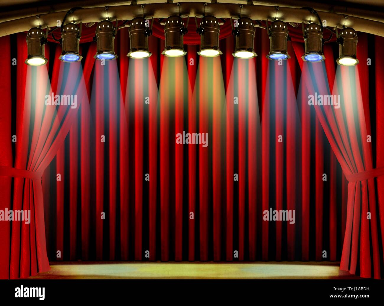 Empty stage curtains with lights - Empty Stage With Red Curtain And Spot Lights Stock Image