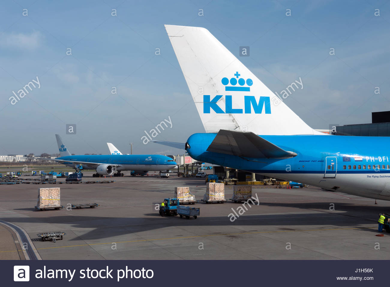 Blue apron engineering - Amsterdam The Netherlands Klm Logo On The Tailfins Of Aircraft On The Apron At Schiphol Airport