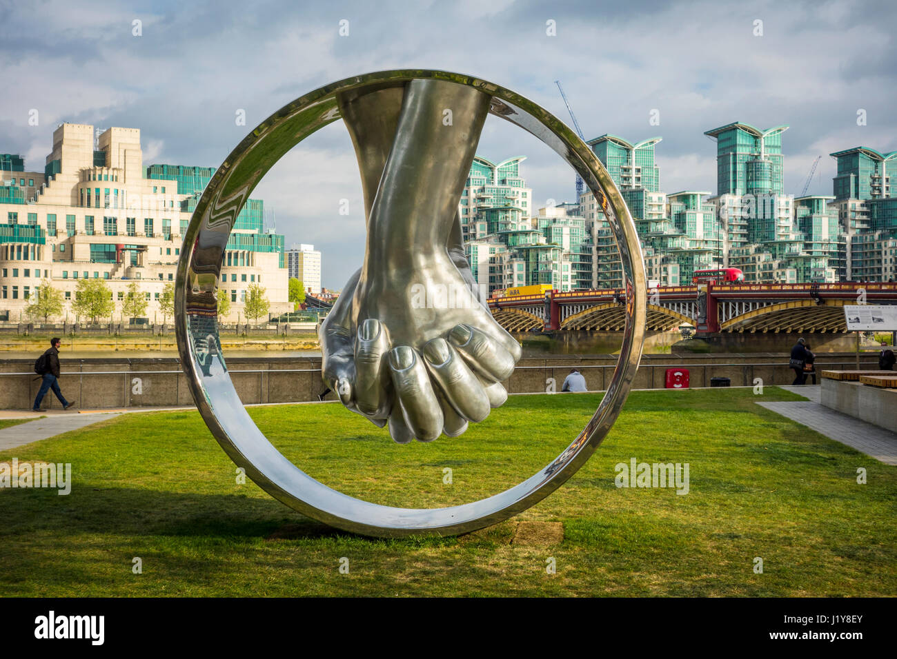 Stock photo hamburg germany riverside new - Lorenzo Quinn Sculpture Love Aluminium Riverside Walk Gardens Milbank London