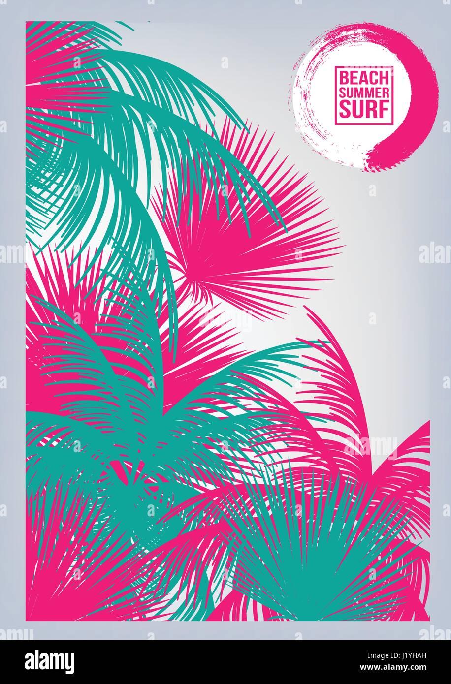 summer beach party flyer template vector illustration stock vector