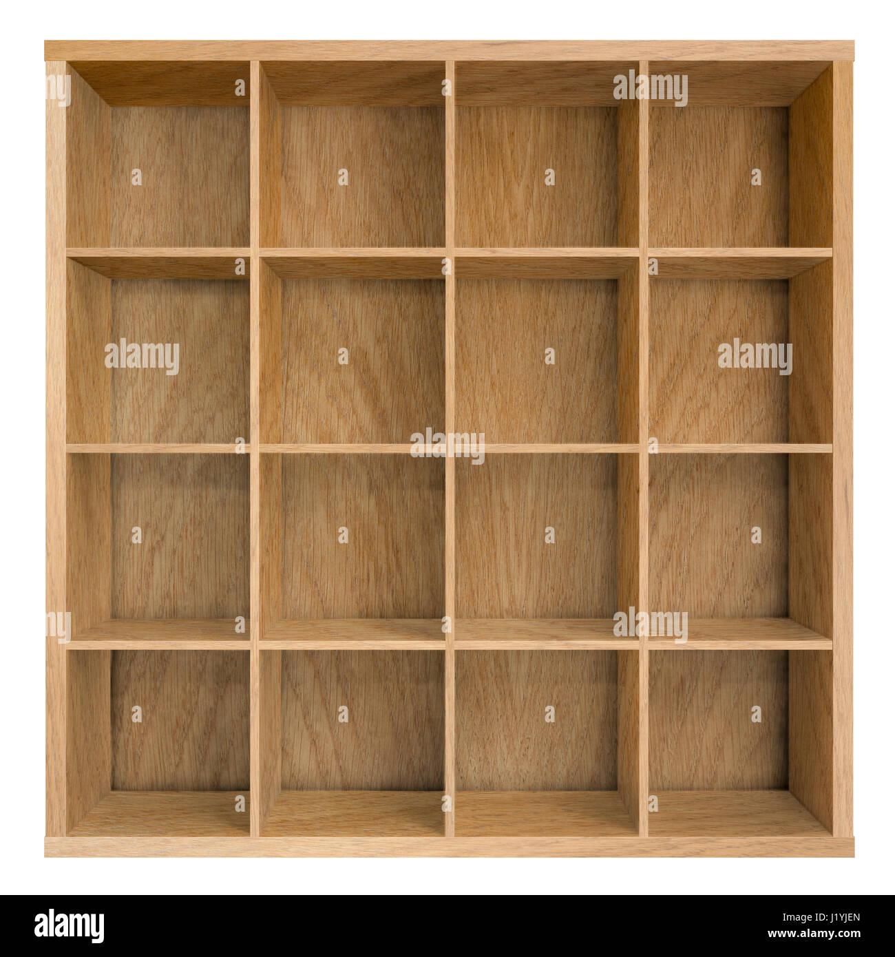 Empty square bookshelf or bookcase 3d illustration - Stock Image
