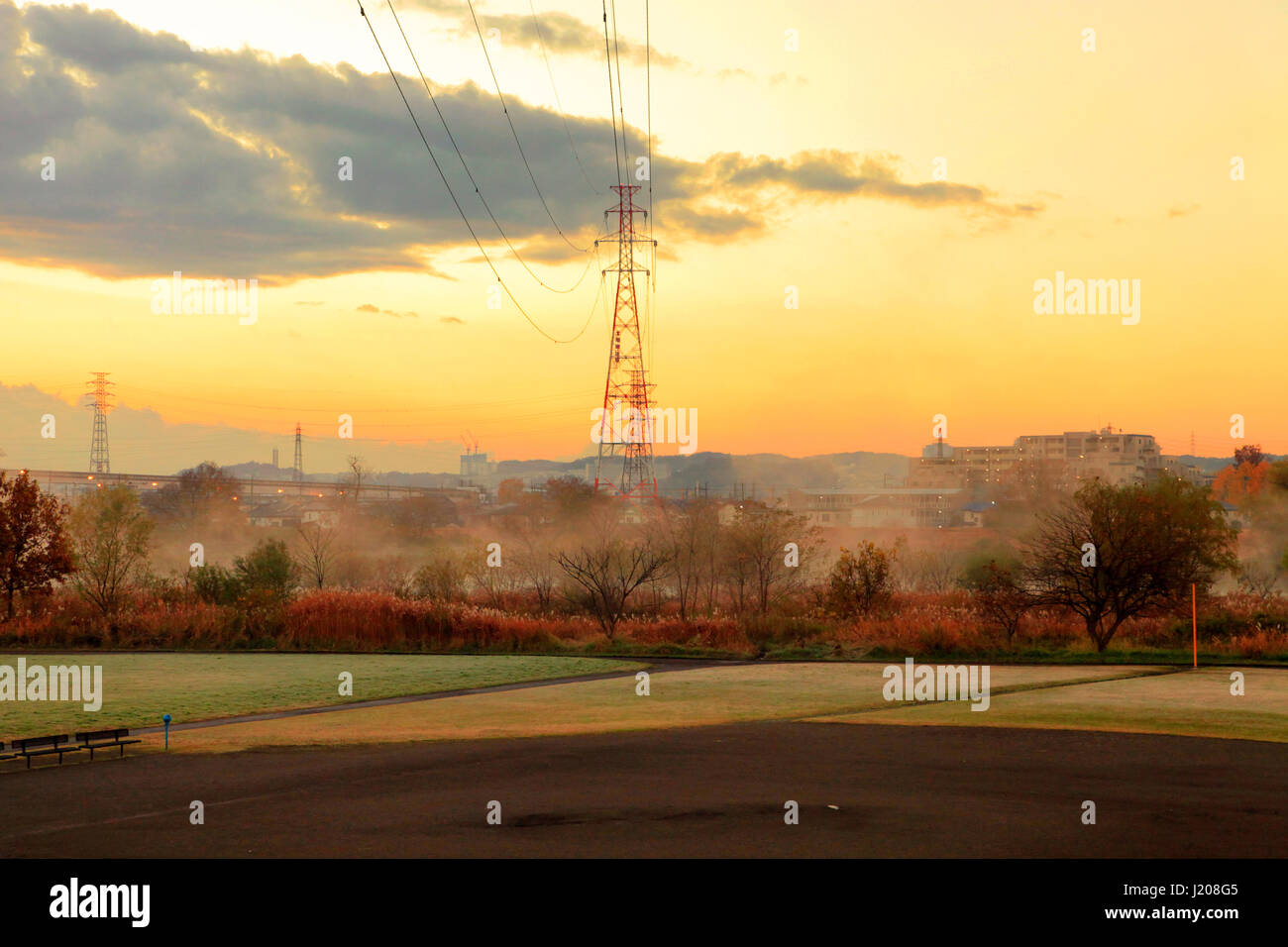 Stock photo hamburg germany riverside new - Early Morning Scene Of Tamagawa Riverside Area In Tachikawa City Western Tokyo Japan Stock Image