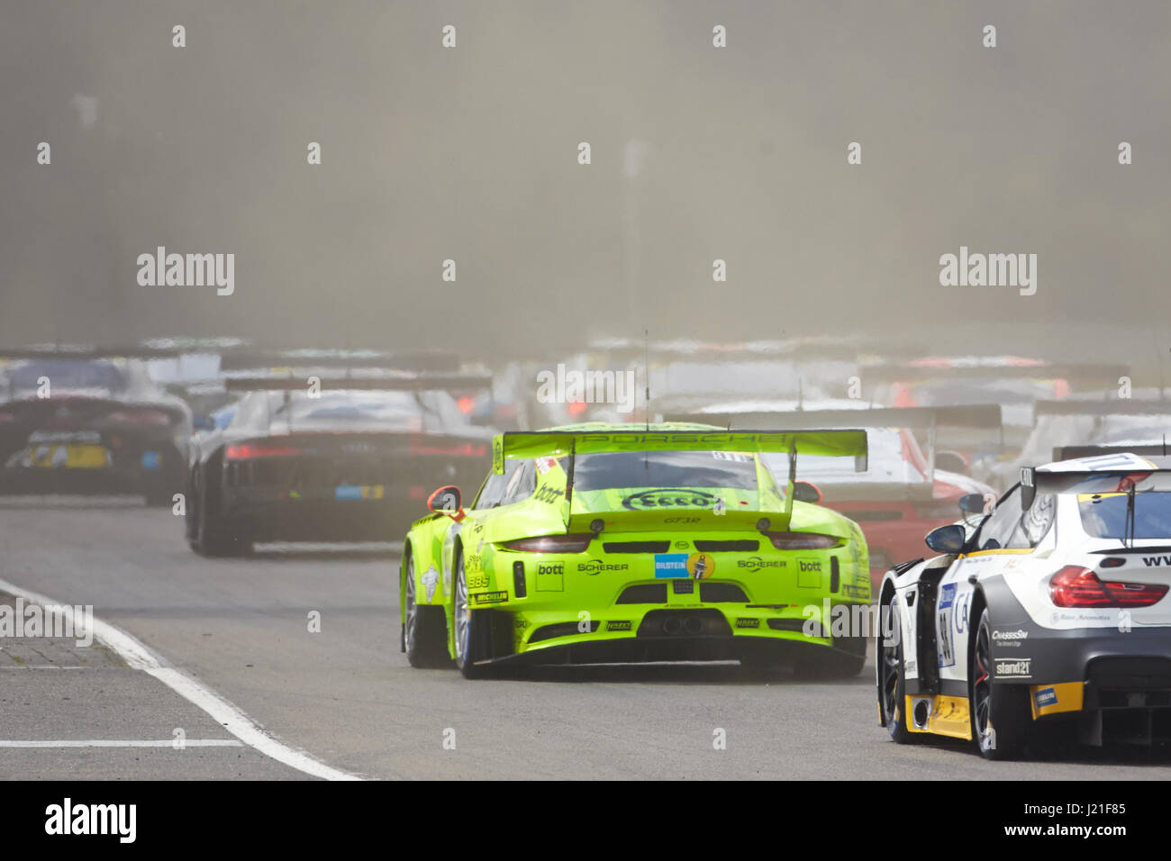 Nuerburg germany 23rd apr 2017 view of the qualification race for the