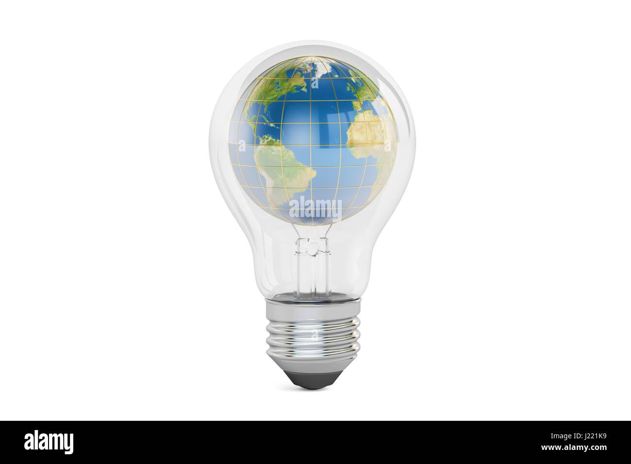 light bulb with earth globe inside save energy concept 3d