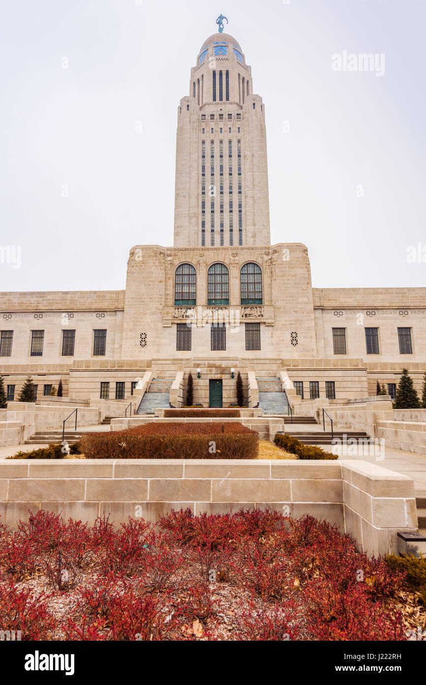 Lincoln nebraska state capitol building lincoln nebraska usa stock