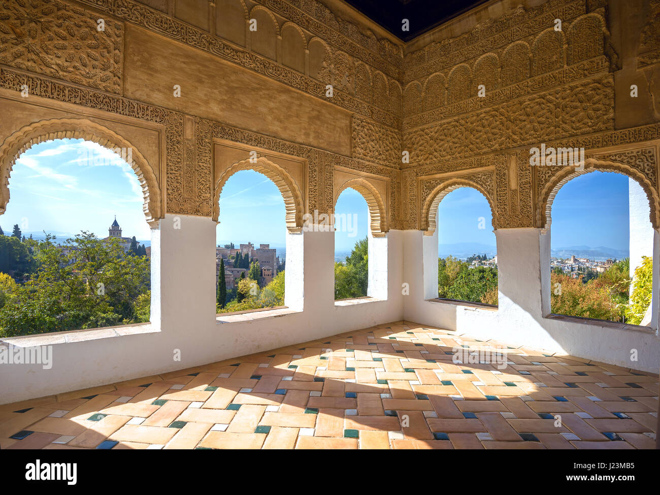 The alhambra of granada andalusia spain stock photos the for Alhambra decoration