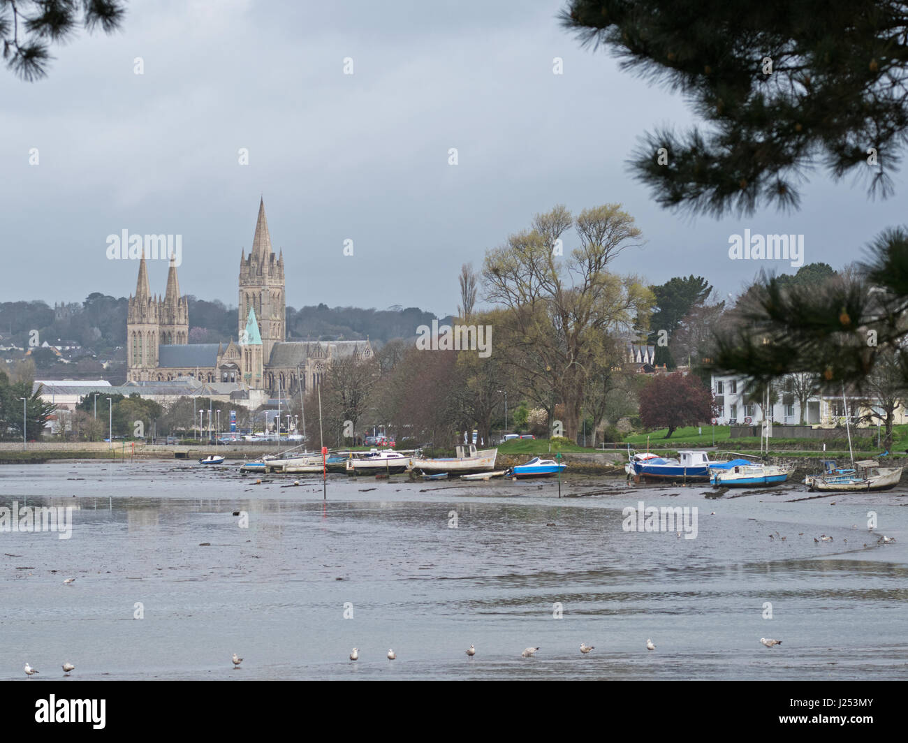 Stock photo hamburg germany riverside new - The Cathedral Of The Blessed Virgin Mary And Riverside In Truro Cornwall With The