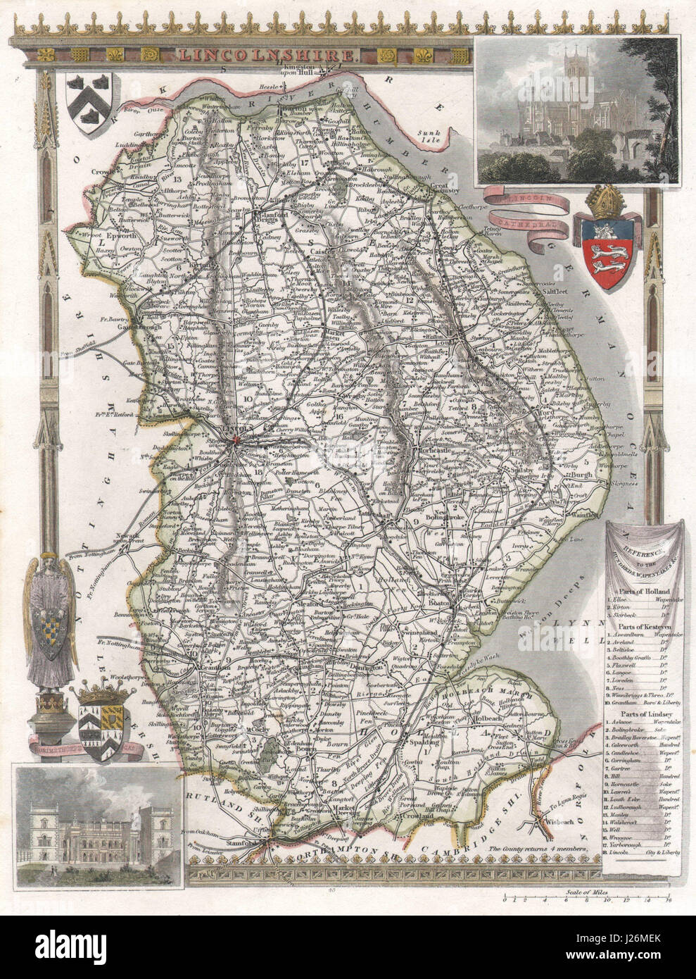 Railways Lincolnshire Antique Hand-coloured County Map Moule C1840 Old Buy One Give One