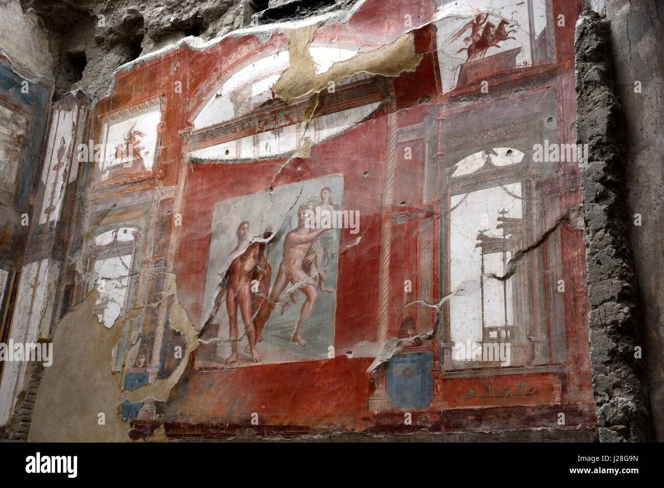 ancient roman walls stock photos ancient roman walls stock frescoes fresco on the walls of college of the augustales herculaneum ancient roman city destroyed by