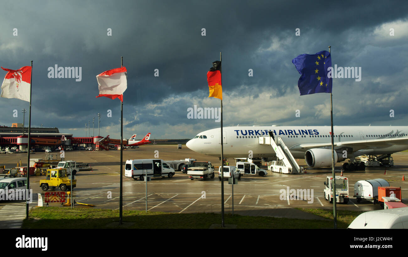 White apron homebase - Germany Berlin Tegel Txl International Airport Turkish Airlines Airbus A330 Flags