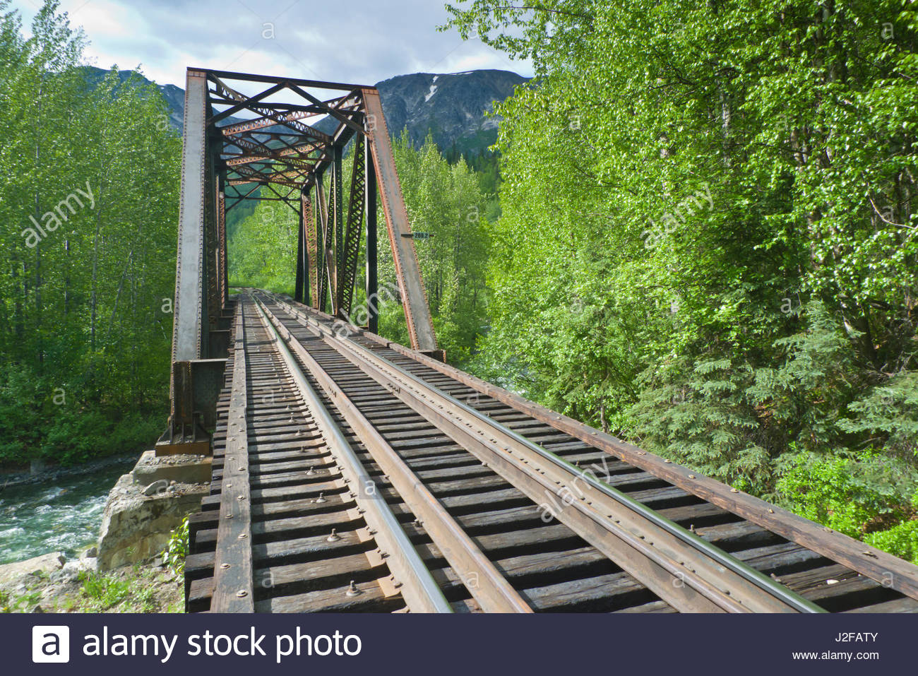Alaska matanuska susitna county talkeetna - Metal Railroad Bridge Spanning The Indian River Talkeetna Mountains Matanuska Susitna Borough