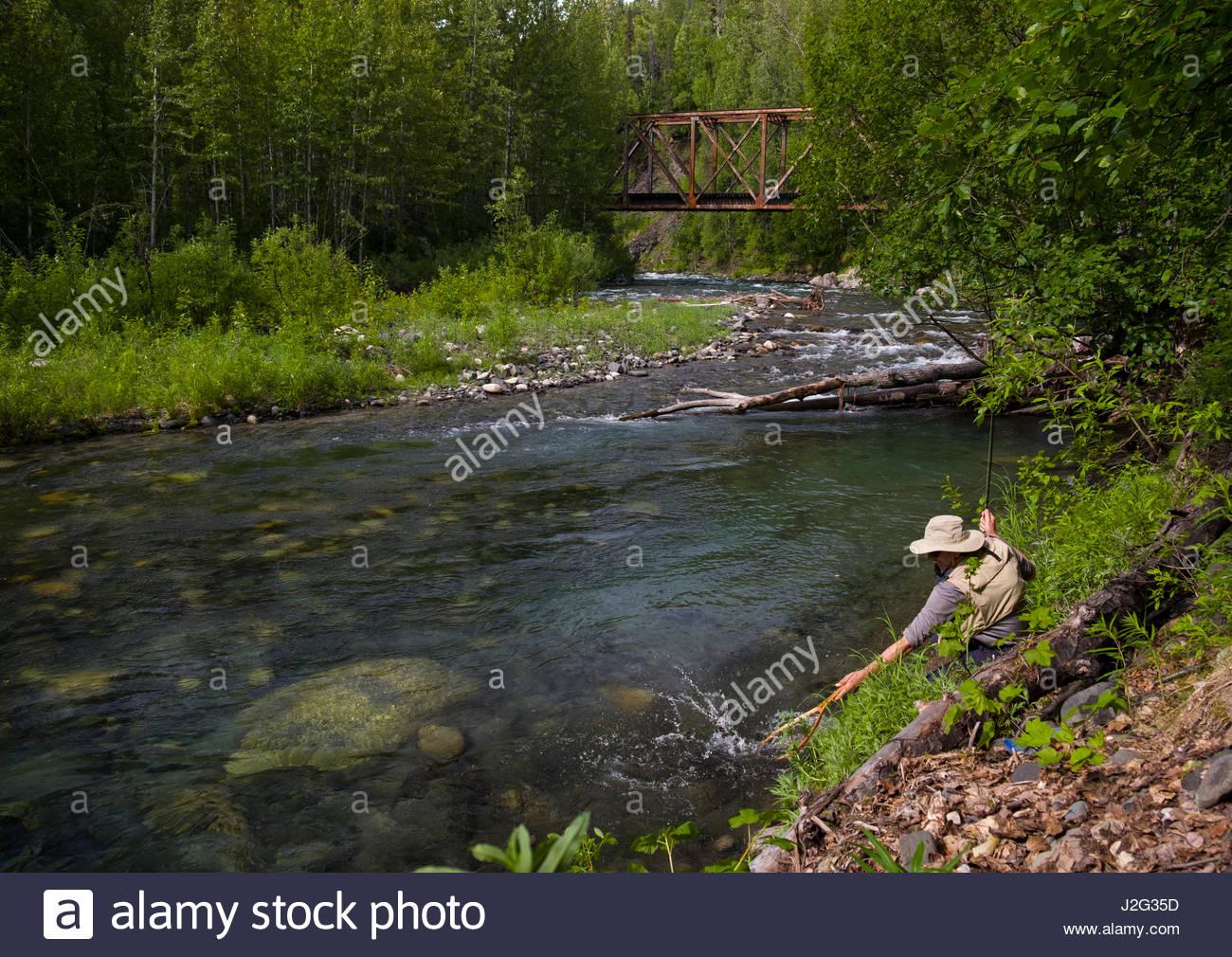 Alaska matanuska susitna county talkeetna - Man Fly Fishing The Indian River Talkeetna Mountains Matanuska Susitna Alaska