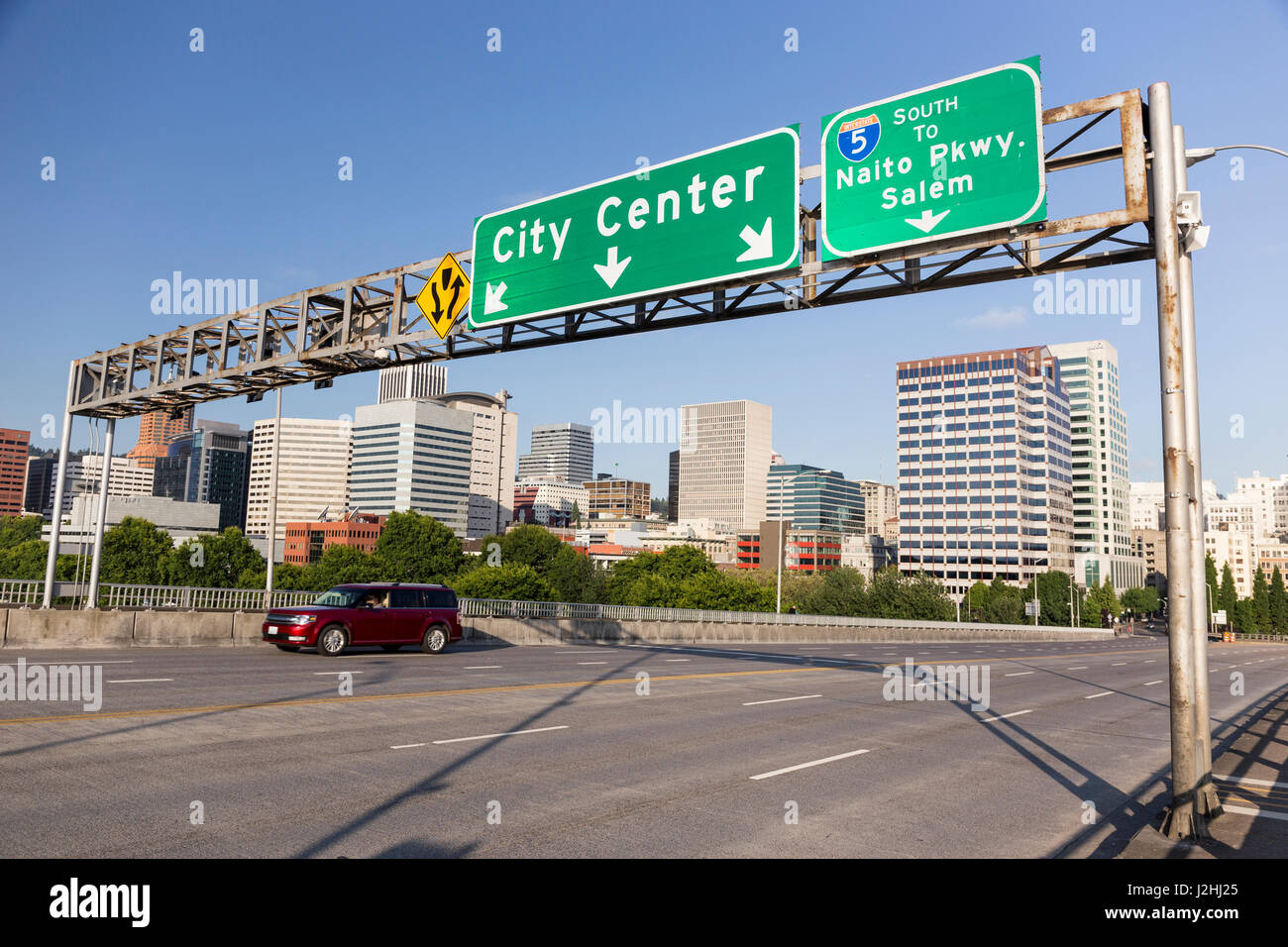 USA, Oregon, Portland  Traffic signs with downtown on Morrison Stock
