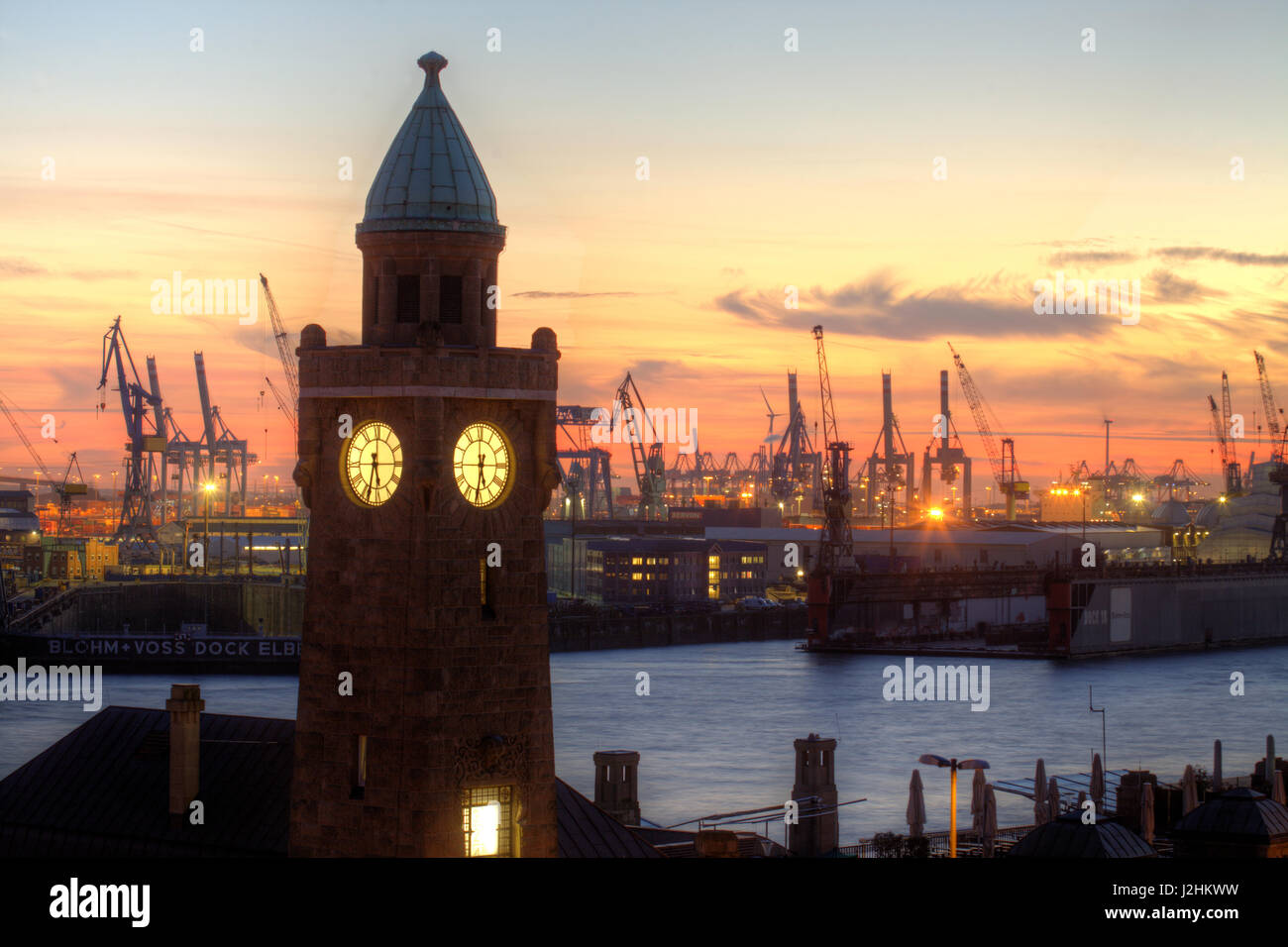 Stock photo hamburg germany riverside new - Sant Pauli Landing Bridges At Dusk Hamburg Germany Europe I Hamburg
