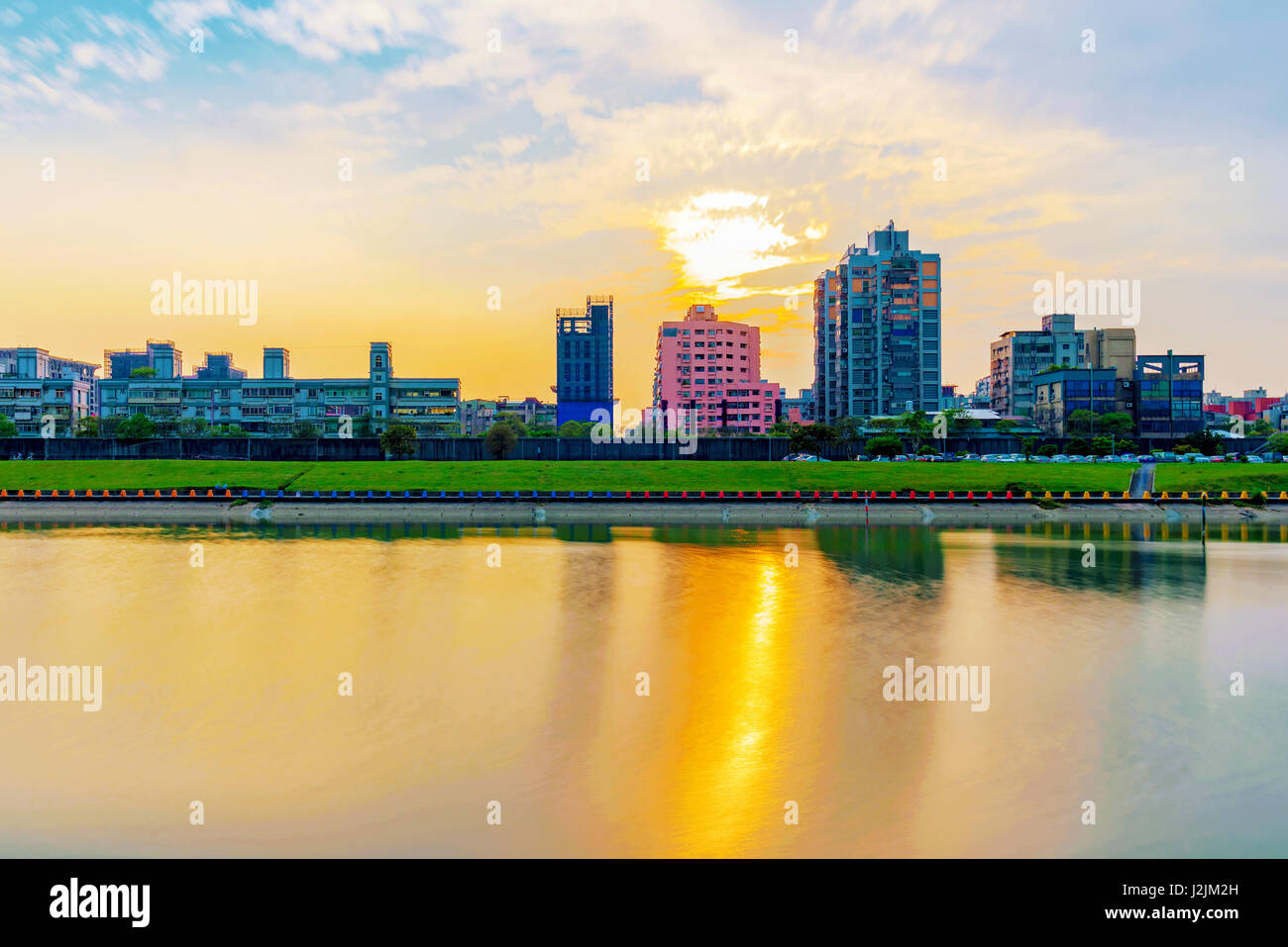 Stock photo hamburg germany riverside new - View Of Taipei Riverside Area With Sunset Stock Image