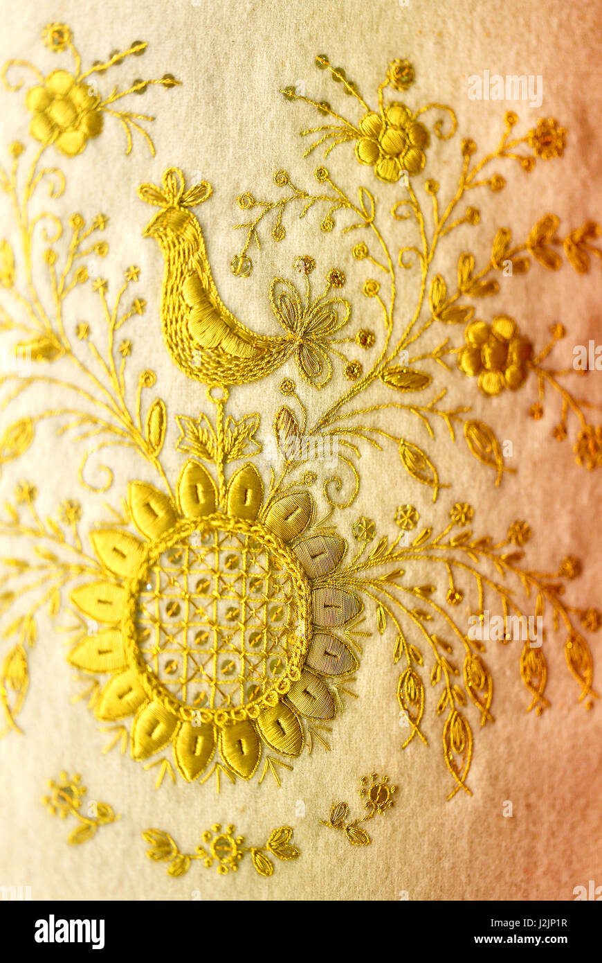 Gold embroidery stock photos