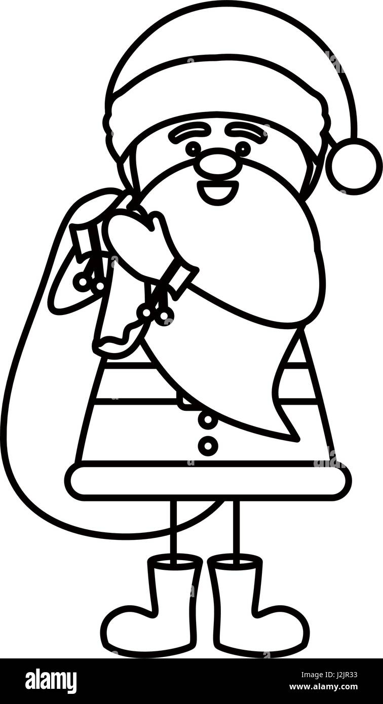 Coloring book bag - Monochrome Contour Caricature Of Santa Claus With Gift Bag Stock Image