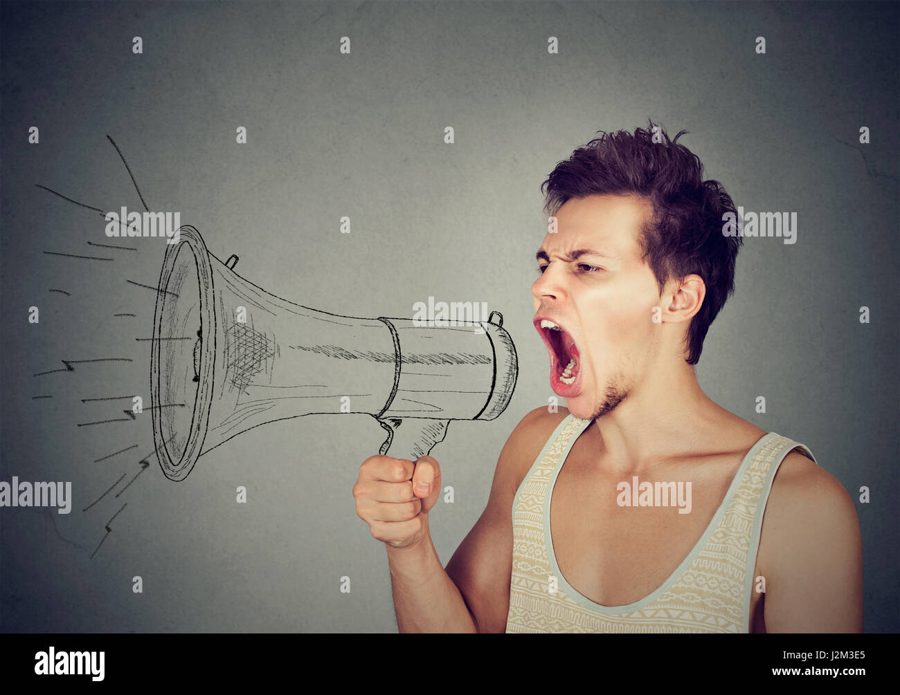 Grimace face clip art stock photo woman pulls a face in upset - Screaming Man Stock Image