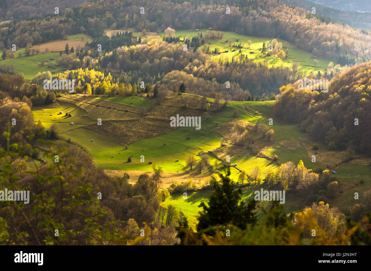 Mountain meadows at autumn illuminated by devine light radocelo mountain central serbia stock