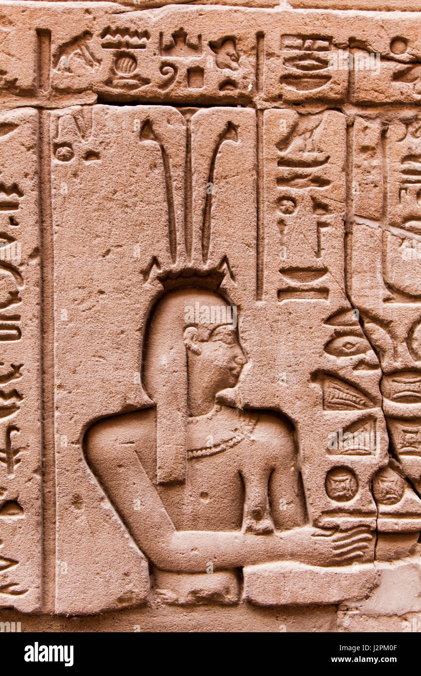 Ancient egyptian hieroglyphics on wall stock photos