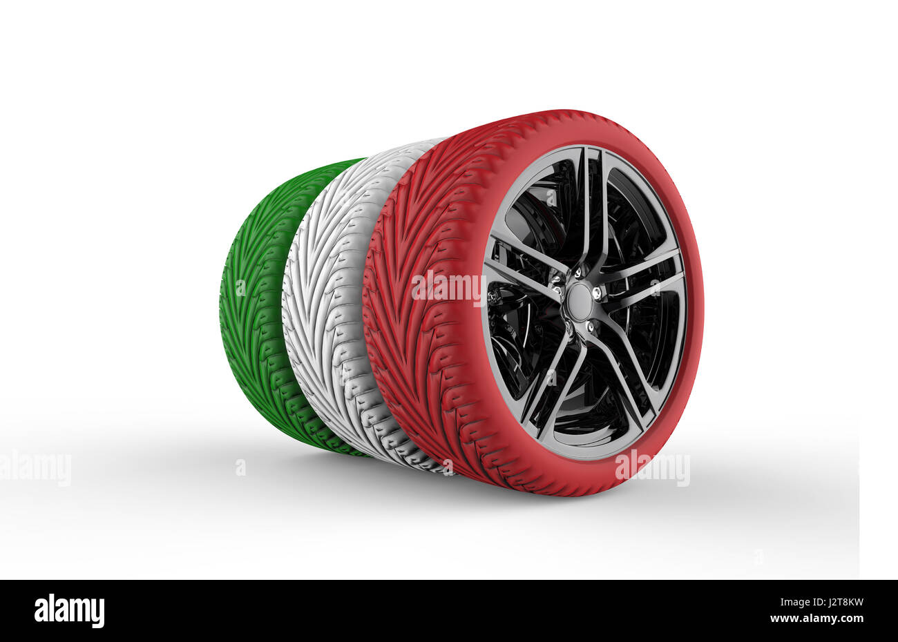 colorful tires formation isolated on a white background stock image