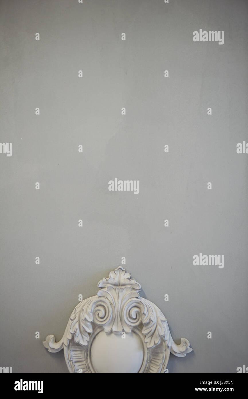 decorative molding ornaments on the gray wall classic decor retro stock image - Decorative Molding